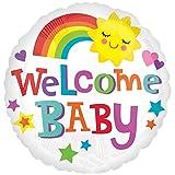 paduTec Heliumballon Ballon Folienballon - Welcome Baby - Babyshower Babyparty Geburt Mitbringsel ins Krankenhaus - mit Helium gefüllt