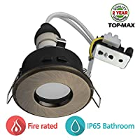 TOP-MAX LED Recessed GU10 Spotlight Pack of 1 240V Mains Ceiling Lighting Downlight Antique Brass Finished Die Cast Aluminum Cover Adjustable 30Degree IP65 Protection For Bathroom KitchenLiving room Bedroom Waterproof Fireproof With Grounding Cutout 70mm Fitting Diameter 85mm LED Bulb Not Included
