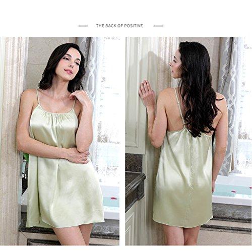 La primavera e l'estate nuova pigiama fionda estate sexy seta seta servizio a domicilio camicia da notte di seta ( Color : Coral powder , Size : M ) Green