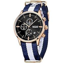 Megir Men Fashion Luminous Canvas Quartz Wrist Watches