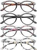 VEVESMUNDO® Lesebrillen Damen Herren Federscharnier Lesehilfe Augenoptik Vintage Retro Qualität Vollrandbrille 1.0 1.25 1.5 1.75 2.0 2.25 2.5 3.0 3.5 (4 Stück (Schwarz+Leopard+Rosa+Gelb), 1.0)