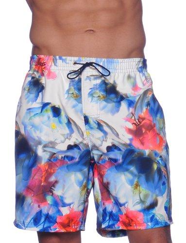 Hom Hawai - Short de Bain - Imprimé - Microfibre - Homme Multicolore