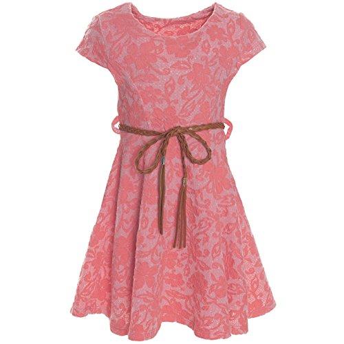 BEZLIT Kinder Mädchen Kleid Peticoat Fest Freizeit Sommer-Kleider Kostüm 21228 Lachs Größe 140