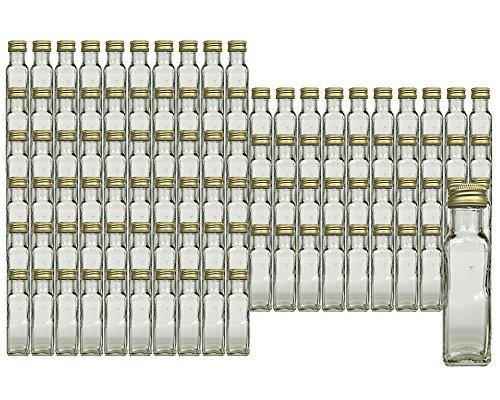 Glasflaschen Set mit Schraubverschluss Gold | Füllmenge 100 ml | Maras Saftflaschen Spirituosen Likörflaschen Setzen Sie ganz einfach Ihr eigenes Öl an (100 Stück) (Machen Sie Ihr Eigenes Bier)