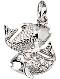 Jewel pendant of the Zodiac Pisces 925 silver rhodium plated, zirconia h-w-d.approx. 19.1-15.1-4.7mm