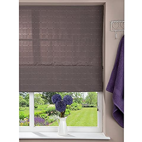 Fabric Roman Shade Window Blind - Cord - Patterned Brown - 100 x 160cm