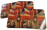 London Union Jack Getränke Untersetzer–Set von 4/England UK Sehenswürdigkeiten Souvenir/Big Ben/Tower Bridge/Red Telephone Box/Doppeldecker-Routemaster Bus/London Eye/Perfekt für Tasse oder Glas
