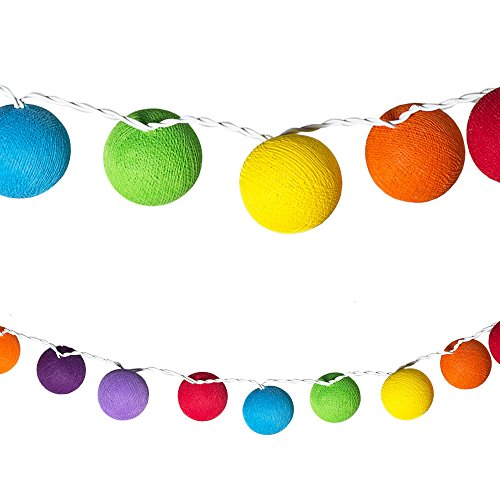 LED Lichterketten bunt 20 Baumwollkugeln (6 cm) CE 3,5m Deko innen Cotton Ball | Baby Nachtlicht Schlummerlicht | Dekoration Hochzeit Geburtstag Party Weihnachten Lichterkette | Rattan Kugeln Textil Rosen (Rainbow)