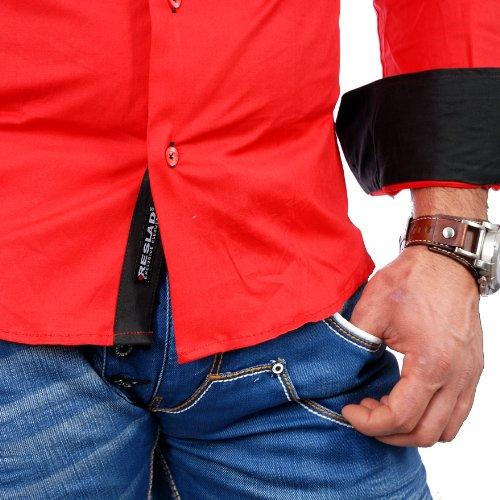 Reslad Herren-Hemd Slim Fit Kontrast Langarm-Hemd Alabama RS-7050 Rot-Schwarz