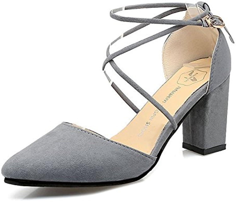 RUGAI-UE Sandalias de tacón de moda, verano, nuevos zapatos de mujer afilados, gruesos y cómodos, gris, treinta... -