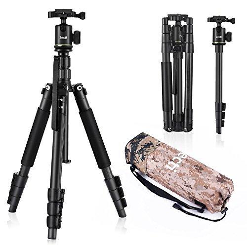 Zecti Stativ Kamera Fotostativ 2-in-1 Aluminium Tragbares Stativ Einbeinstativ (Höhe 35cm-140cm) Kit mit Kugelkopf EIN Dreibeinstativ aus Aluminium mit Tragetasche, belastbar mit bis zu 5Kg - Schwarz
