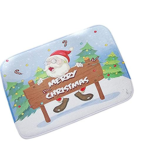 Iuhan Mode de Noël HD Imprimé antidérapant Tapis de bain absorbant étanche Home Decor E