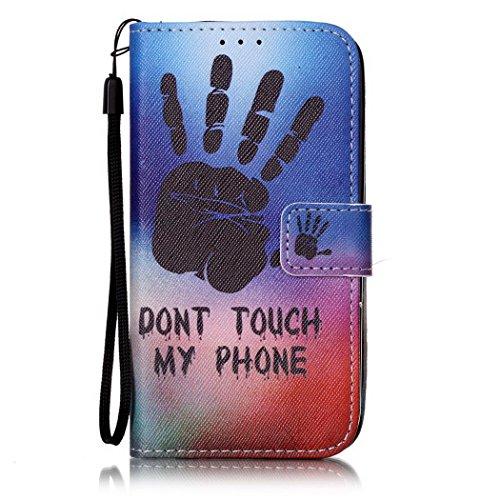 Ledowp Apple iPhone 8portafoglio in pelle, protezione integrale modello colorato design custodia in pelle custodia a portafoglio in pelle con slot per schede per iPhone 8 blu Skull #1 Palm