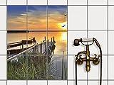 creatisto Dekorfliesen, Küchenfliesen   Fliesenfolie Sticker Aufkleber Bad Küche Fliesenposter Innendekoration   20x25 cm Design Motiv Bridge to The Sun - 9 Stück