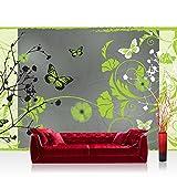 Fototapete 368x254 cm PREMIUM Wand Foto Tapete Wand Bild Papiertapete - Ornamente Tapete Blume Blüte Blätter Schmetterling Ranke grün - no. 2946