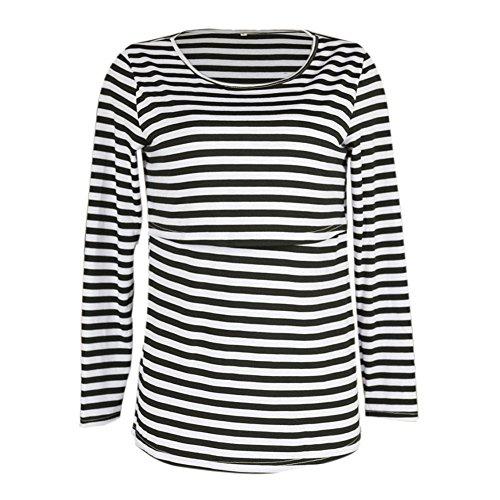 Meedot Mutterschaft T-Shirts Nursing Tops für Schwangere Frauen Schwarz S (Neuheit T-shirts Mutterschaft)
