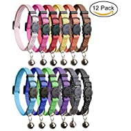 HOMIMP 12 Pcs Cat Collars Quick Release Reflective Safety Nylon Collars with Bell 20-30 cm