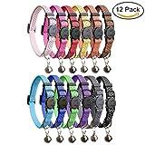 HOMIMP 12PCS Katze Halsbänder Quick Release Reflektierende Sicherheit Nylon Halsbänder mit Glocke 20,3cm–12