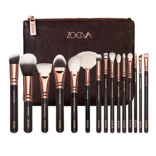 Evana 15 Pic Professional Cosmetic Makeup Brush Set Premium Synthetic Hair Foundation Blush Eyeshadow Concealer Powder Brushes Kit with Case