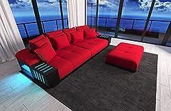 bigsofa Bellagio with LED Lighting megasofa in materialmix Fabric Sofa