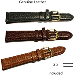 Genuine Leather Black/Brown/ Tan Padded Watch Strap With Stainless Steel Gilt Buckle