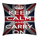 Kotdeqay Housse de Coussin Union Jack Throw, Keep Calm and Cary on Quote Crown Figure, Drapeau de la Grande-Bretagne, Marine, Bleu Rouge Blanc