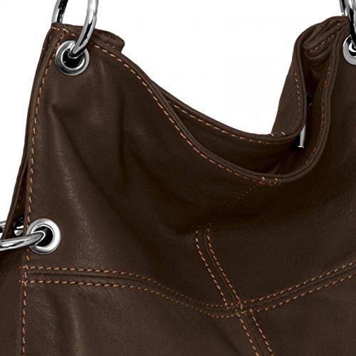 CASPAR mittelgroße Damen Multifunktions Handtasche / Schultertasche / Umhängetasche aus weichem Leder - viele Farben - TL628 dunkelbraun
