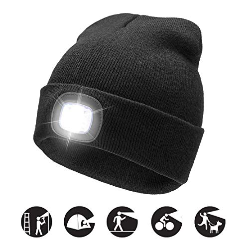 ATNKE LED Lighted Beanie cap, USB Running Hat Ricaricabile Ultra Bright 4 LED Waterproof Light Lampada e Allarme Lampeggiante Proiettore Nero