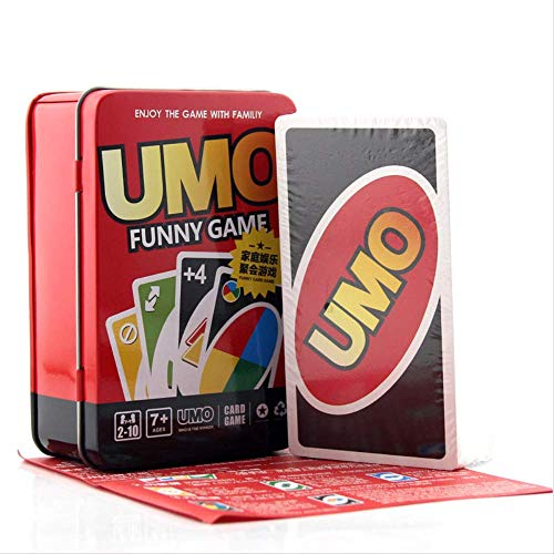 lkarte UMO Iron Box Poker UMO Solitaire Board Game Toy Card Party Entertainment 108 Cards/Set ()