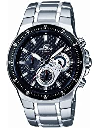 CASIO Edifice Men's Quartz Watch with Black Dial Analogue Display and Sliver Stainless Steel Strap EF-552D-1AVEF