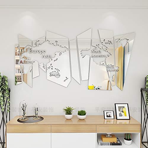 JWQT Nordic wind 3D stereoskopische wandaufkleber ins selbstklebende wohnzimmer restaurant studie büro hintergrund dekoration kreative karte, spiegel silber, in