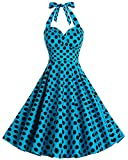 Bbonlinedress Neckholder 50er Vintage Pinup Retro Rockabilly Kleid Cocktailkleider Blue Black Big Dot XL
