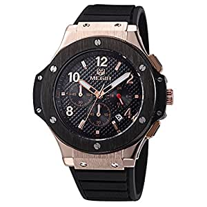 Voeons Men s Watches Chronograph 24 Hr Indicator Military Sports Watches 3ATM Waterproof Luxury Gold Case Quartz Big Dial Silicone Watches
