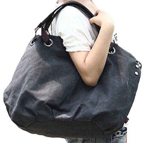 DATO Frauen Damen Fashion Casual Umhängetasche Tragetasche Canvas Große Kapazität Handtasche Schultertasche Tote Taschen Shopper Bag Beuteltaschen Hobo Bag Schwarz