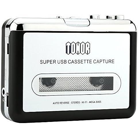 Tonor Convertidor USB Cinta Audio Cassette a MP3 CD Reproductor PC Conversor Casete