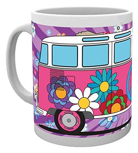 empireposter - Volkswagen - Hippy - Größe (cm), ca. Ø8,5 H9,5cm - Lizenz Tassen, NEU - Beschreibung: - VW Bulli Hippie Blumen in rosa - Keramik Tasse, weiß, bedruckt, Fassungsvermögen 320 ml, offiziell lizenziert, spülmaschinen- und mikrowellenfest -