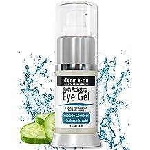 Crema de Ojos Antiarrugas por Derma-nu – Tratamiento en Gel anti-envejecimiento para las ojeras, hinchazón y arrugas - Fórmula de construcción de péptidos de colágeno - Ácido Hialurónico y Aminoácidos - .5 oz