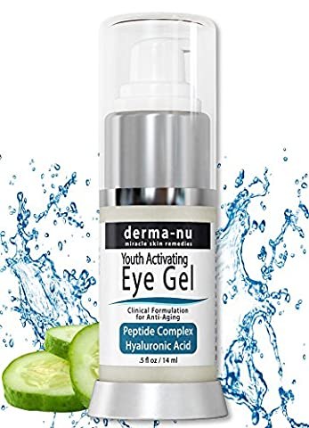 Eye Wrinkle Cream By Derma-nu – Anti Aging Eye Gel Treatment for Dark Circles, Puffiness & Wrinkles - Peptide Collagen Building Formula - Hyaluronic Acid & Amino Acid -
