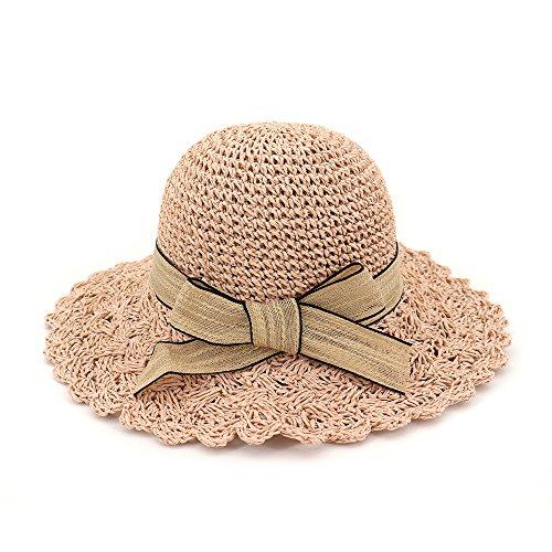 HGYIO Sommer Strohhut für Mädchen, Sonnenschutz Fischerhut für beige Outdoor, Faltbarer Strandhut für große Kante,pink