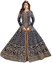 ETHNIC EMPORIUM Women's Blue Bollywood Bridal Wedding Festival Special Silk Long Dress Anarkali Suit Dupat