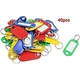 TOOGOO(R) 40 Pcs Anneau fendu en plastique colore ID Mots carte de visite Etiquette Porte-cles