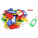 Sonline 40 Pcs Split Ring Colorful Plastic ID Tags Name Card Label Key Holder