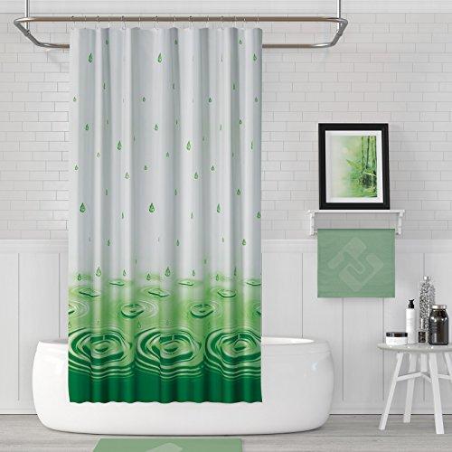 EDLER Textil Duschvorhang EINTEILIG 240 x 200 cm Grün Weiss Wassertropfen inkl Ringe