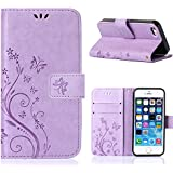 MOONCASE iPhone SE Bookstyle Étui Fleur Housse en Cuir Case à rabat pour iPhone SE / 5S/ 5 Coque de protection Portefeuille TPU Case Violet clair