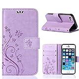 MOONCASE iPhone Se Bookstyle Étui Fleur Housse en Cuir Case à Rabat pour iPhone Se...