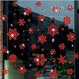 LCXYYY Fensterfolie Weihnachten Schneeflocken Fensterbilder Statisch Haftende PVC-Sticker Weihnachten Fensterdeko Aufkleber WandtattooFensteraufkleber Weihnachtenr Rot