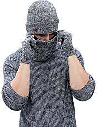 Bequemer Laden Wintermütze Herren Strickmütze, Rundschal, Touchscreen Handschuhe - Sets, Warme Handschuhe Winterschal und Mütze mit Fleecefutter