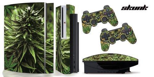 PS3-Original-Designer skin for FAT Playstation 3 System, PS3 Controller skin included - WEEDS2-SKUNK-420 (Skunk Skins)