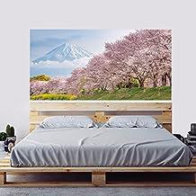 Ughjb 3D Nueva Llegada Japón Sakura Cama Cabecero Paisaje Murales Etiqueta Dormitorio Wallpaper Calcomanías Mural Art
