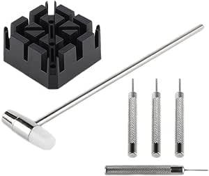 Set di leva anse appuntito, S-420, per accorciare le maglie in acciaio inox dell'orologio, con martelletto e un supporto per il cinturino